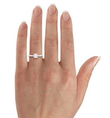 Delicate Halo Engagement ring settings for smaller round diamonds, 0.20 to 0.60 carat