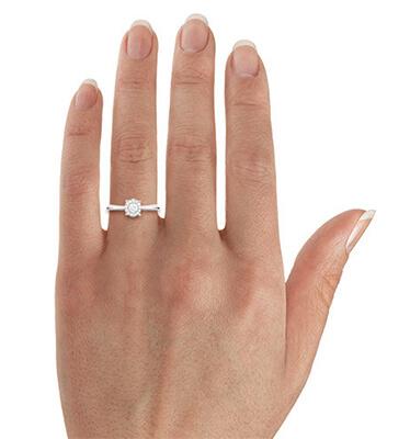 0.53 carat Princess Delicate PreSet Halo Engagement ring