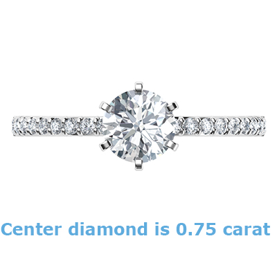 6 prongs head ring model, with side diamonds common prongs set 0.20 carat
