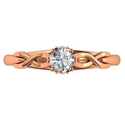 Leaf motif infinity Solitaire engagement ring, For smaller diamonds