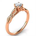 Picture of Rose Gold Leaf motif infinity Solitaire engagement ring, For smaller diamonds