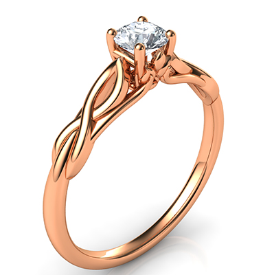 $500, 0.25 carat Leaf motif infinity Solitaire engagement ring