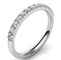 Foto Alianza de boda de 1,9 mm, diamantes de 0,26 quilates a la mitad de