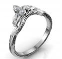 Foto Alianza a juego con hojas para el anillo de compromiso Joyce Leaf de