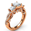 Picture of Rose Gold Vintage style engagement ring with two Princess diamonds 0.76 CTW