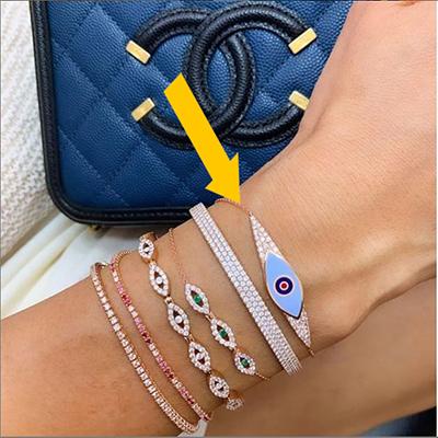 Eye bracelet with diamonds-Choose your enamel color