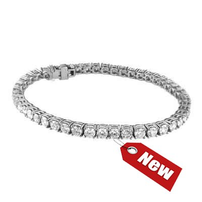 6.75 carats Tennis Bracelet in 14k Gold, White, Rose or Yellow colors.