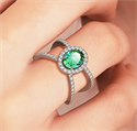 Picture of Emerald and diamonds ring in 14k Gold, White, Rose or Yellow .
