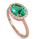 Picture of 1 1/4 carat Oval Emerald and 1/5 carat diamonds ring