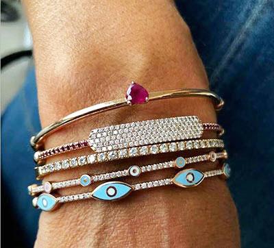 Evil eye bangle 1/3 Carat diamonds