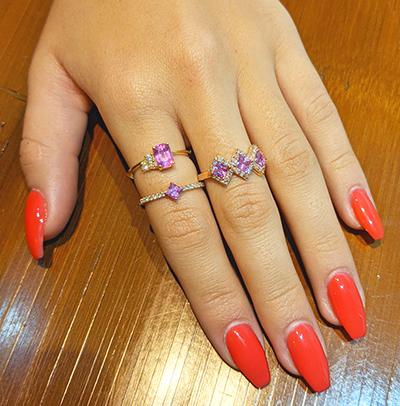 1 Carat three pink Sapphires and 1/3 carat diamonds ring