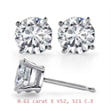 Picture of Pair of natural diamond earrings 0.61 carat E VS2 E SI1