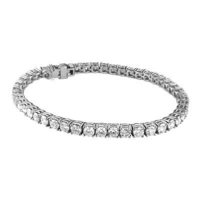 6.90 carats IJ VS very-good to ideal-cut diamond tennis bracelet, still white face up