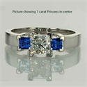 Picture of  Two natural Sapphires side stones engagement ring