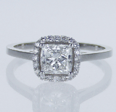 Ready to Ship.1.02 D VS2 Princess solitaire engagement ring, In 14k White Yellow and Rose gold.