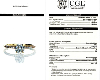 0.81 Round H SI2, Ideal-Cut, with 0.20 cts sides, In 14k White Yellow or Rose gold.