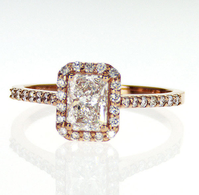 Ready to ship, 0.70 carat Radiant D VS2+0.30 sides, engagement ring,  in 14k Rose Gold