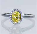 Picture of Ready to ship, 1.01 carat Oval VS1 Vivid Yellow diamond+ 0.17 sides , engagement ring,  in 14k White Gold