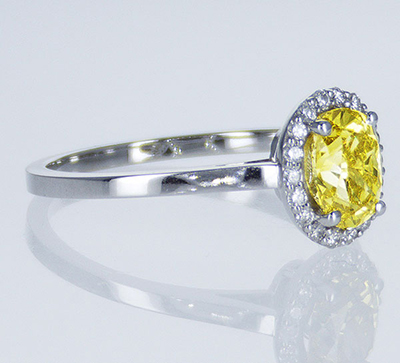 Ready to ship, 1.01 carat Oval VS1 Vivid Yellow diamond+ 0.17 sides , engagement ring,  in 14k White Gold