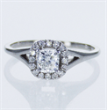 Picture of Ready to ship, 0.48 carat Cushion diamond D VS1+0.13 sides, engagement ring,  in 14k White Gold