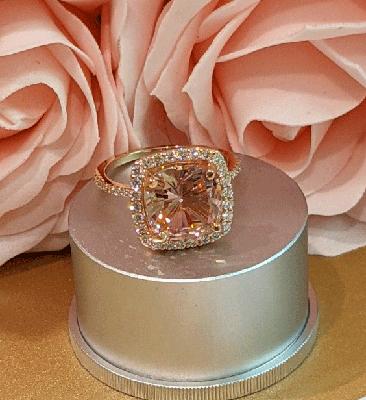 Ready to ship, 4 carat pink Morganite and 0.55 carat side diamonds engagement ring,  in 14k Rose Gold