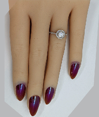 Ready to ship, 0.61 carat Round diamond D SI1 C.E, +0.30 sides, engagement ring, in 14k White Gold