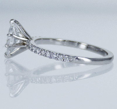 Ready to ship, 0.64 carat Marquise diamond D SI2 +0.20 Carat sides engagement ring, in 14k White Gold