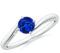 Picture of 5 mm Blue Sapphire AAA engagement ring