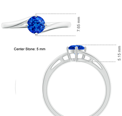 5 mm Blue Sapphire AAA engagement ring