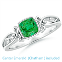 Picture of 5.5 mm Chatham Emerald  Cushion Celtic motifs solitaire engagement ring setting