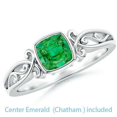 5.5 mm Chatham Emerald  Cushion Celtic motifs solitaire engagement ring setting