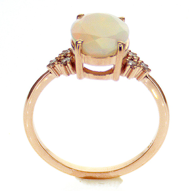 1.50 carat Opal engagement ring with diamonds