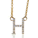 Picture of Initial letter encrusted with 0.10 to 0.14 carat diamonds, in 14k Gold, White, Yellow or Rose color