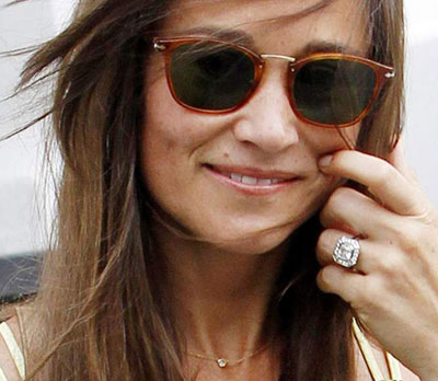 Pippa Middleton 1.50 carat Asscher Cut Moissanite center low profile engagement ring