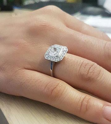 Pippa Middleton 2.00 carat Asscher Cut Moissanite center engagement ring