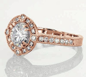 Milgrained Halo Engagement Rings