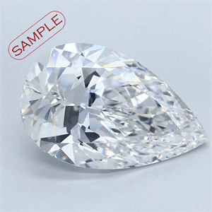 Picture of 0.55 Carats, Pear Diamond with  Cut, E Color, VS2 Clarity and Certified by GIA