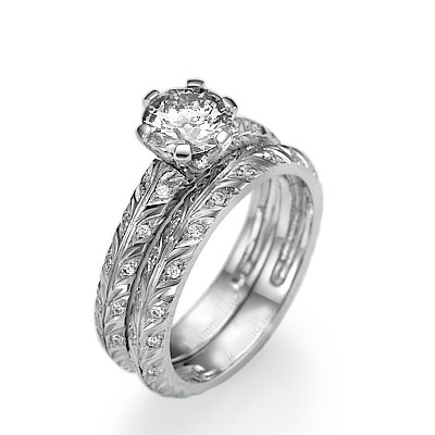 0.41 Carats, Princess, Semi Set,Engagement and Wedding diamond ring sets