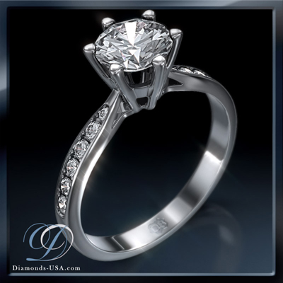 0.27 Carats, Round, Engagement ring with side stones settings