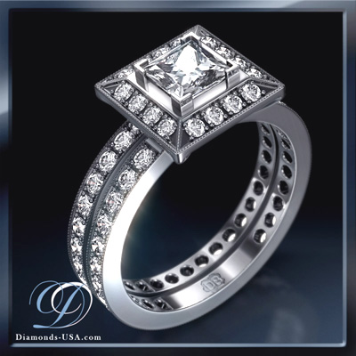 2.07 Carats, Princess, Engagement and Wedding Diamond Rings Set