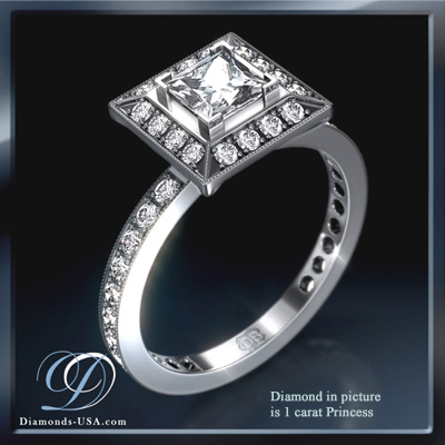 0.51 Carats, Princess, Engagement and Wedding Diamond Rings Set