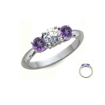 Amithyst sides, three stones engagement ring