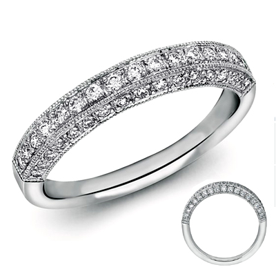 Generations, three sides covered with diamonds wedding band