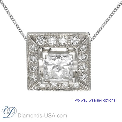 Princess pendant with surrounding round diamonds