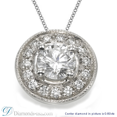 Pendant for rounds with surrounding diamonds