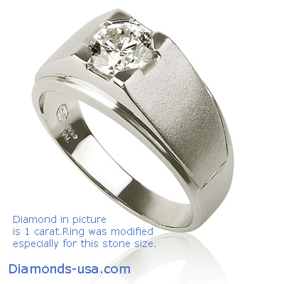0.71 Carats, Round, Men diamond ring