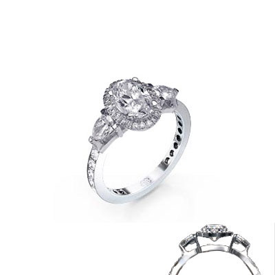 Engagementring with two Pear diamonds and a Pave set band