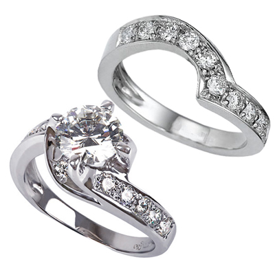 0.54 Carats, Round, Engagement and Wedding Diamond Rings Set