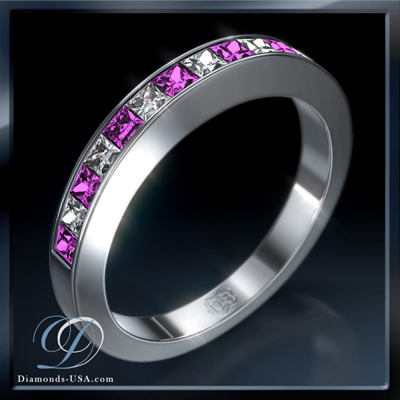 0.30 carats Princess diamonds and Pink Sapphires weddind band
