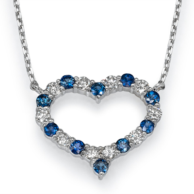 Diamonds & Sapphires Heart necklace